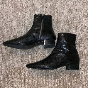 ZARA Snakeskin Booties Black